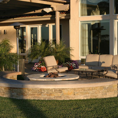 firepit stacked stone bench