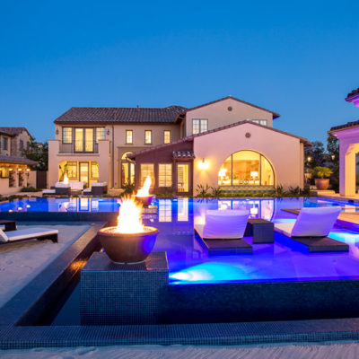 outdoor lighting-submerged lounge chairs-pool-firepits