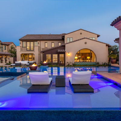 outdoor lighting-submerged lounge chairs-swimming pool