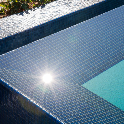 waterfall edge swimming pool-glass tile