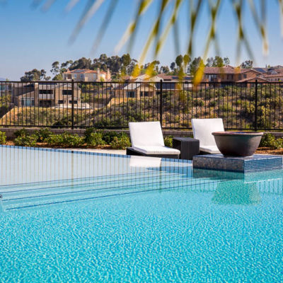 waterfall edge swimming pool-lounge chairs