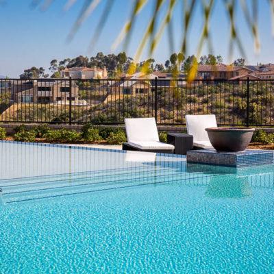 waterfall edge swimming pool-lounge chairs