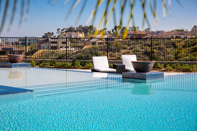 waterfall edge swimming pool-lounge chairs - Van Slyke Landscape ...