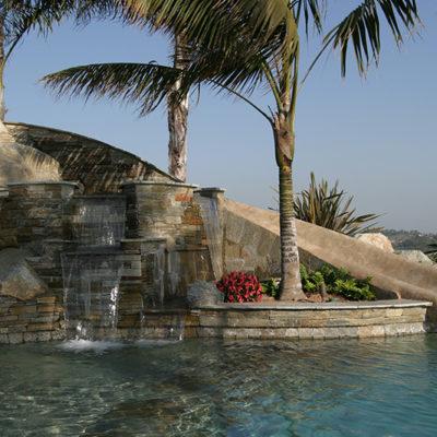 waterfall slide pool